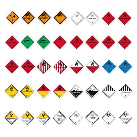 Hazardous substances signs icon flammable skull radioactive hazard corrosive set