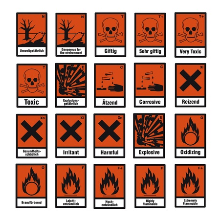 safety sign danger sign hazardous chemical chemistry toxic set