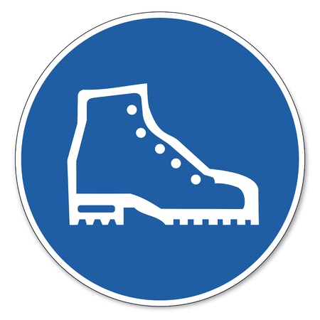 Commanded sign safety sign pictogram occupational safety sign Use safety shoes