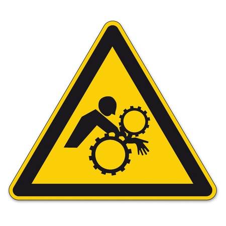 Safety signs warning sign BGV A8 vector pictogram icon triangle unintentionally hand enter