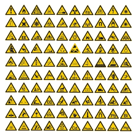 Safety signs warning warndreieck BGV A8 triangle sign vector pictogram icon set