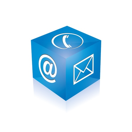 Contact cube phone at email e-mail hotline kontaktfomular callcenter call pictogram sign symbol cube