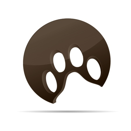 3D abstraction dog paw animal cat  brown corporate logo design icon sign business