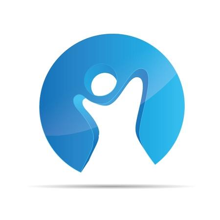 3D abstract blue figure stickman circular kids freedom symbol corporate design icon logo trademark