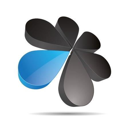 3D abstract drip flower circular blue sea sky round sun sunflower symbol corporate design icon logo trademark