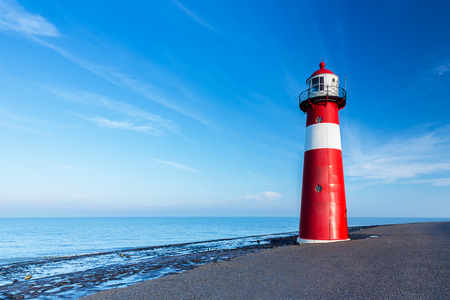 lighthouse a the Netherlands coast in westkapelle