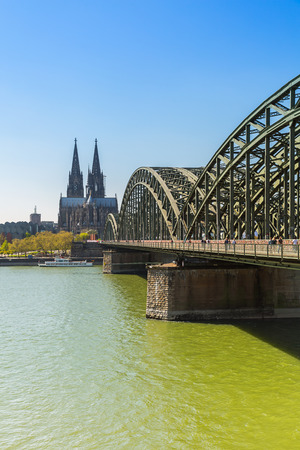 Cologne Cathedral and Hohenzollern Bridge at spring in germany