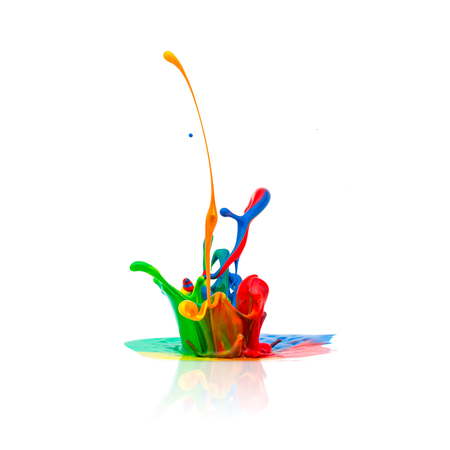 splash of Colorful oil paint isolated on white