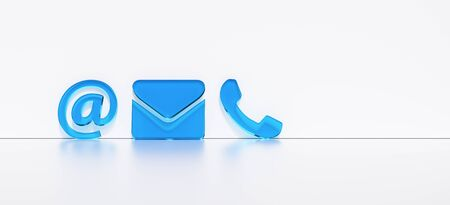 Blue contact icons leaning against a wall as a hotline and service panorama concept