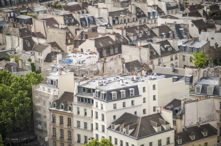 Paris rooftops seen from tow