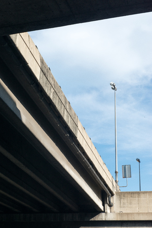 Modern concrete elevated road way or overpass system.
