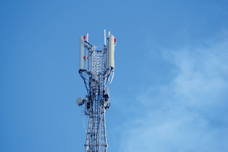 Photo for Communication tower or 3G 4G network telephone cellsite silhouette on blue sky and space for text. Frozen equipment - Royalty Free Image
