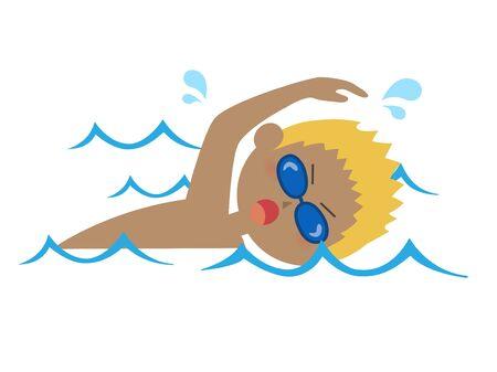 Illustration of a blonde man swimming.