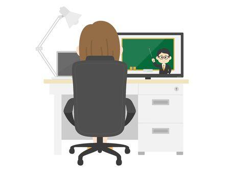 Illustration pour Illustration of women taking classes online - image libre de droit