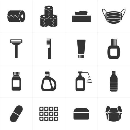 Vektor für Icons set for daily necessities and consumables - Lizenzfreies Bild