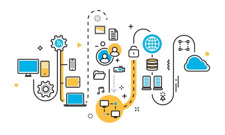 Flat line illustration concept of graph, plan, scheme, mechanism, structure, algorithm, step of saving cloud storage work process, big bata, upload sync service, free server for website banner