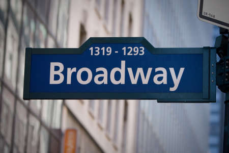 Photo for MANHATTAN, NY - September 6, 2010: Broadway sign in New York City, USA on a sunny day. - Royalty Free Image