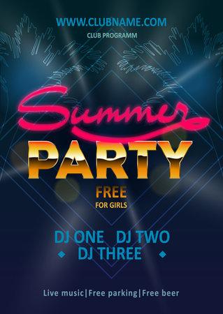Illustration pour DJ beach party, night club show poster - stock vector - image libre de droit