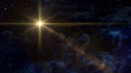 A Bethlehem illuminated by the Christmas star of Christ