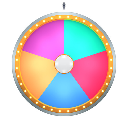 Photo pour Lucky spin represent the wheel of fortune concept. This graphic is create by Three Dimensional. Welcome to add on any text and prize for use in game or sale promotion. - image libre de droit