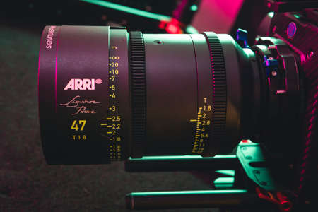 Kyiv, Ukraine - 04.17.2020: Studio shoot of professional lens Arri Signature Prime, close-up. Professional equipment for cinematographer, movie technology