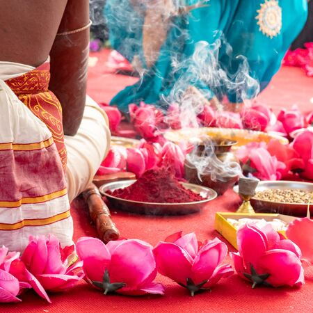 Photo pour Indian wedding ceremony, decorations for traditional ethnic rituals for marriage. - image libre de droit