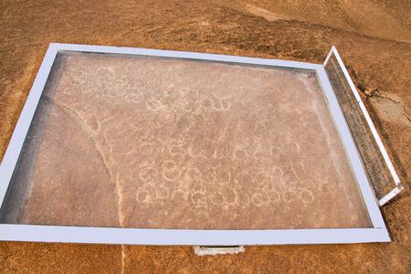 Inscriptions carved on the Vindhyagiri Hill, Shravanbelgola, Karnataka India