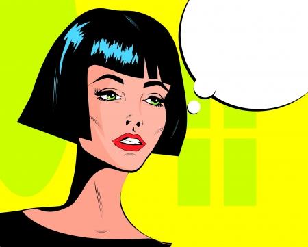 Pop art vector illustration of a woman
