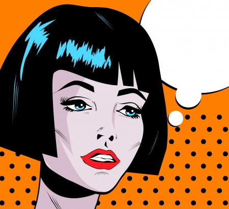 Pop Art Woman Say Beauty Fashion face with red lips and dark hair cut