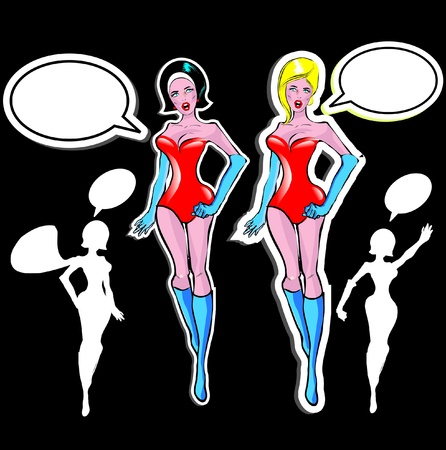 Super woman Lover vector poster with woman and talk bubble, silhouette. One of fashion pinup illustrations