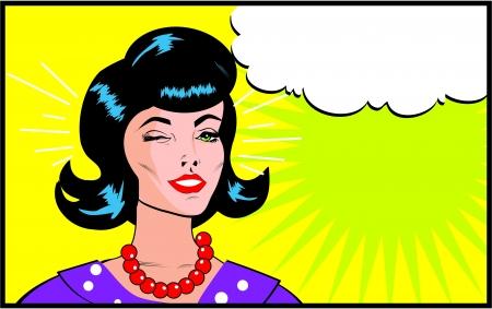 Foto de Retro Woman Winking banner - Retro Clip Art comics style - Imagen libre de derechos