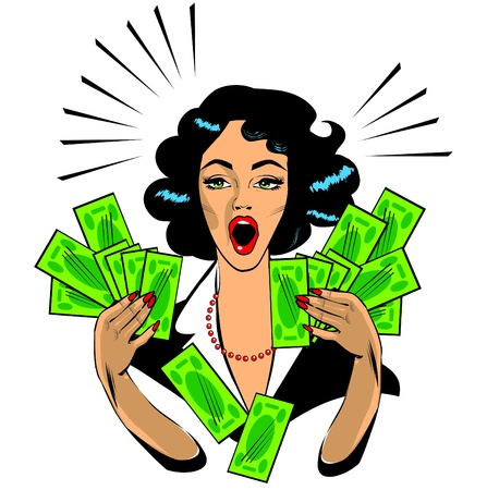 Illustration pour  Clipart Illustration of a Retro Woman Holding Handfulls Of Cash and shocked - image libre de droit