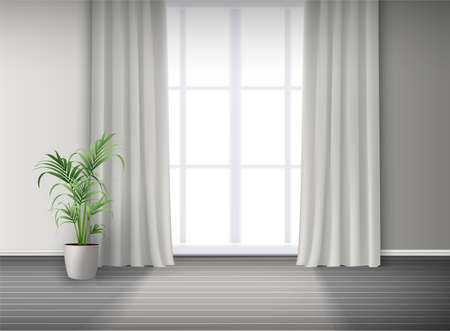 Illustration pour 3d realistic vector room interior with big window with light and curtains and potted plant on the floor. - image libre de droit