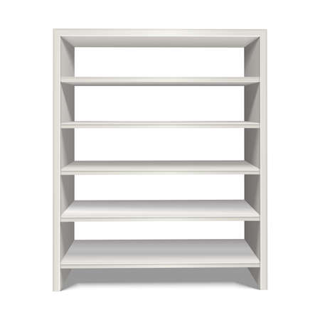 Illustration pour 3d realistic vector shelf stand in white color from front view. Isolated on white background. - image libre de droit