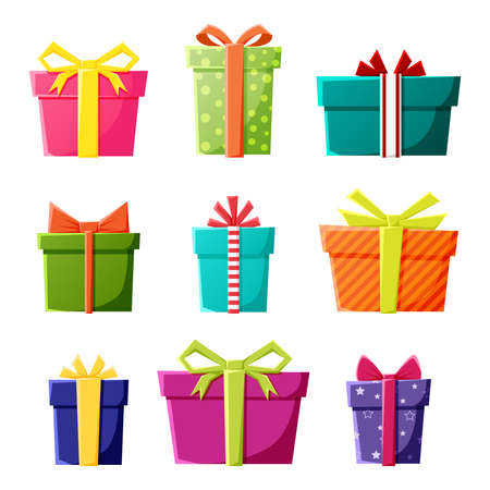 Illustration pour Vector set of gift boxes icons in color for New Year, Christmas or celebration party events. - image libre de droit