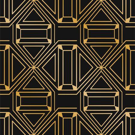 Illustration for Golden abstract modern background. Vintage seamless art deco pattern. Retro illustration. - Royalty Free Image