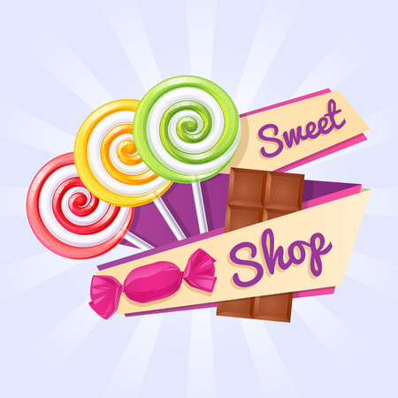 Sweet shop poster. Background with lollipops, candy and chocolate bar on ribbon.