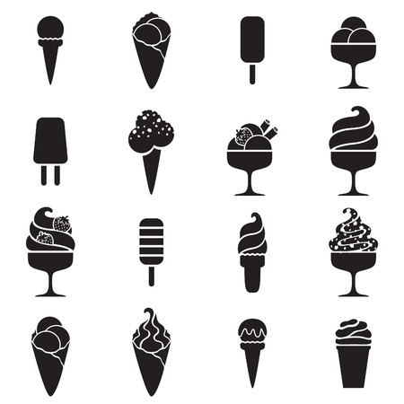 Ilustración de Ice cream black icons set in flat style. Sweet food symbols. - Imagen libre de derechos