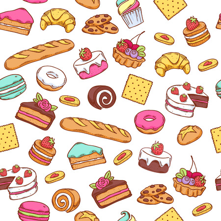 Illustration pour Seamless baked sweet food pattern. Cake, cookie, bread, donut background. White back. - image libre de droit