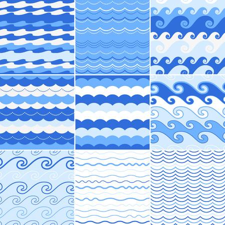 Illustration pour Set of seamless sea waves patterns. Ocean background. - image libre de droit