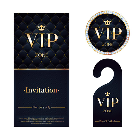 VIP zone members premium invitation card, warning hanger and round label badge. Black and golden design template set. Quilted dexture, diamonds and metal.