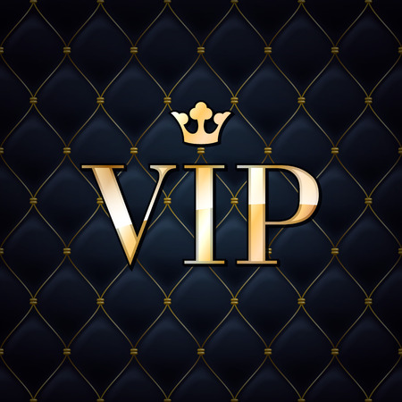 Illustration for VIP abstract quilted background, diamonds and golden letters with crown. - Royalty Free Image