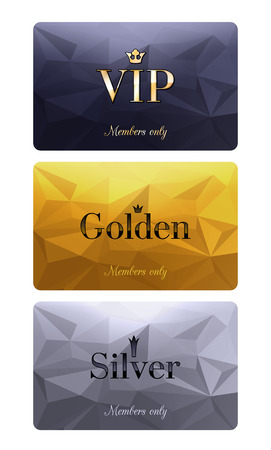 Illustration pour VIP cards with abstract mosaic background. Different cards categories - VIP, golden, silver. Members only design. - image libre de droit