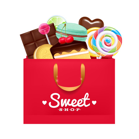 Red gift bag with sweets- macaron, cake, lollipop, candy, chocolate. Sweet present.