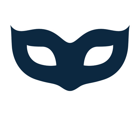 Blank carnival mask icon template illustration. Party masquerade symbol. Black color, flat style.