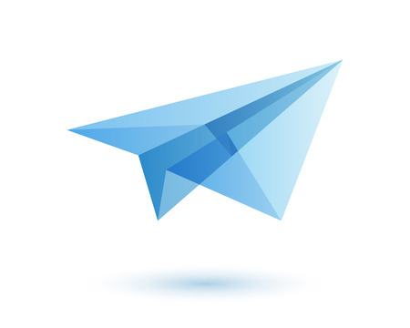 Illustration pour Paper plane icon design idea. Origami toy symbol. Transparent modern style illustration. Travel fly icon. - image libre de droit