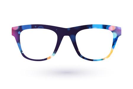 Colorful glasses frame icon simbol. Dark back with bokeh.