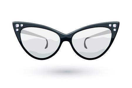 Cat eye black retro glasses with diamonds gemstones illustration. Eye wear logo design.