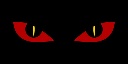 Evil scary eyes - demon snake devil nightmare illustration. Flat style.