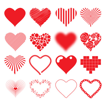 Different hearts icons set love passion valentines day design. Vector illustration.